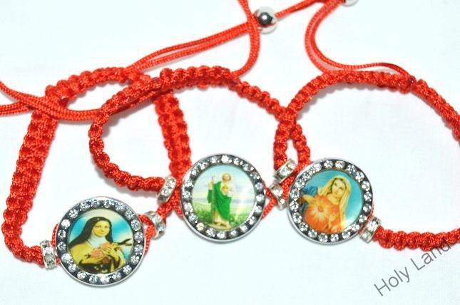 a087b3ce2 3 x červené náramky s kamienkami : sv. Terézia z Lisieux, Svätý Júda Tadeáš